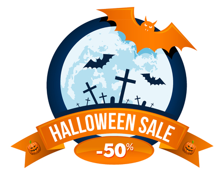 Halloween sale or special discount offer colorful design emblem with bats, full moon, graveyard with graves and crosses and pumpkins isolated Illustration
