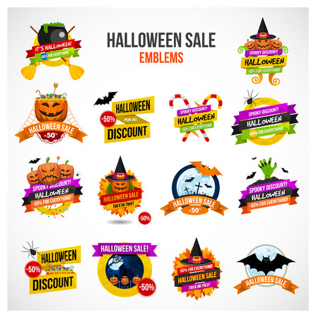 Set of colorful Halloween sale or special discount offer emblems, logos and labels with pumpkins, spiders, bats, zombies, autumn leaves and candies isolated Ilustracja