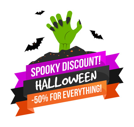 Halloween sale or special discount offer colorful emblem with zombie hand and bats isolated Illustration
