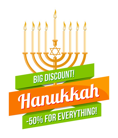 Hanukkah sale or discount design for emblem, sticker with menorah with burning candles isolated
