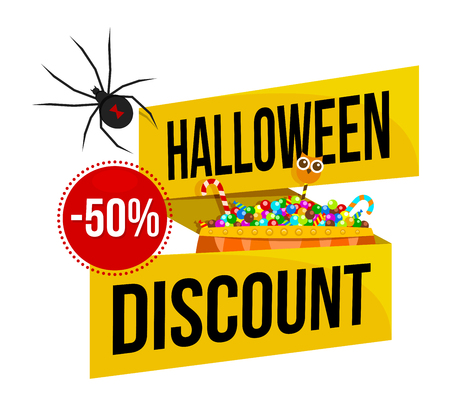 Halloween sale or special discount offer colorful emblem with a spider and basket of candies isolated