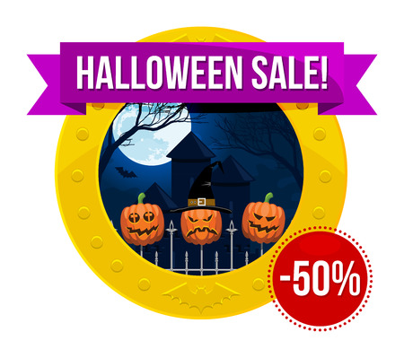 fool moon: Halloween sale or special discount offer colorful emblem with fool moon above a gothic castle and a fence with halloween pumpkins isolated