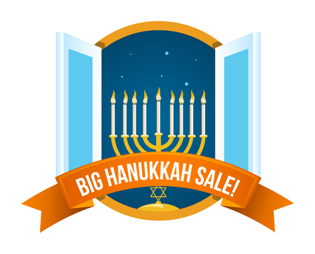 Hanukkah sale or discount design for emblem, sticker with open night window with menorah with burning candles isolated Illustration