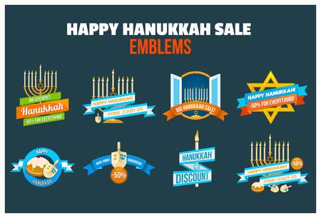 Set of Happy Hanukkah sale or discount design for emblem, sticker with menorah with burning candles, donuts, dreidel and Happy Hanukkah slogans in English and Hebrew isolated Illustration