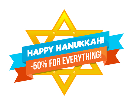 Hanukkah sale or discount design for emblem, sticker with david star isolated
