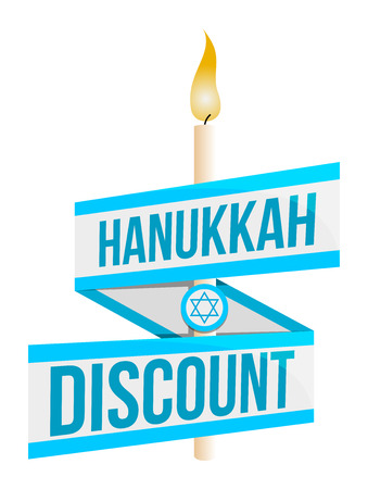 Hanukkah sale or discount design for emblem, sticker or with a burning candle isolated