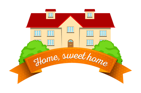 Colorful real estate, sticker or emblem with a house, bushes and a ribbon for company or slogan isolated Illustration