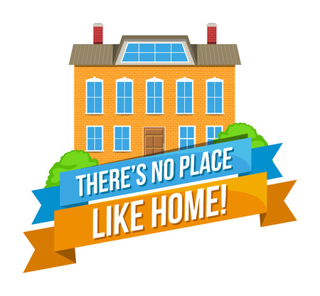 Colorful real estate, sticker or emblem with a house, mountains, birds in the sky and slogan There is no place like home isolated Illustration