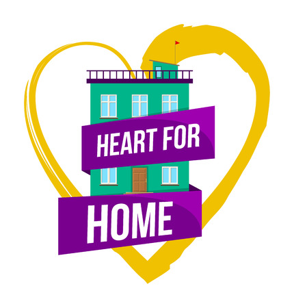 Colorful real estate, sticker or emblem with a house and a doodle heart and slogan Heart for home isolated