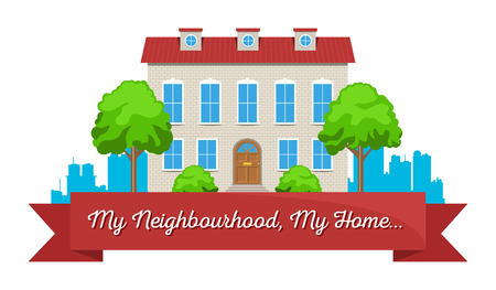 Colorful real estate, sticker or emblem with a house, bushes and a ribbon for company or slogan isolated Ilustracja