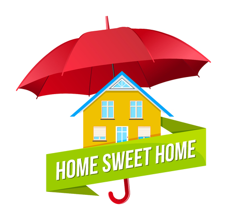 Colorful real estate logo, sticker or emblem with the house under umbrella and slogan Home sweet home isolated
