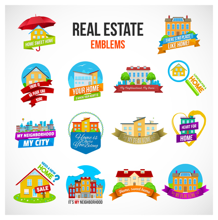 residential neighborhood: Colorful set of real estate logos, stickers or emblems with houses, city streets and nice slogans about home and nighborhood isolated