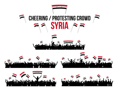protesting: A set of 5 Syria silhouettes of cheering or protesting crowd of people with Syrian flags and banners. Stock Photo
