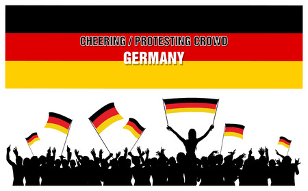 Germany silhouettes of cheering or protesting crowd of people with German flags and banners. Ilustracja