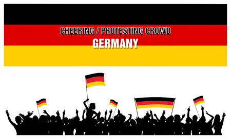 a group of people protesting: Germany silhouettes of cheering or protesting crowd of people with German flags and banners. Illustration