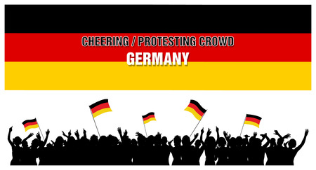 Germany silhouettes of cheering or protesting crowd of people with German flags and banners. Illustration