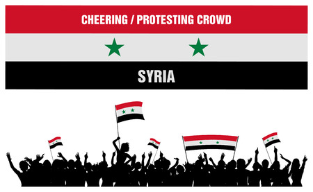 Syria silhouette of cheering or protesting crowd of people with Syrian flags and banners isolated