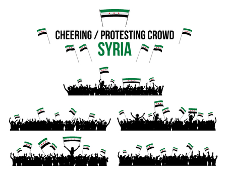 a group of people protesting: A set of 5 Syria silhouettes of cheering or protesting crowd of people with Syrian flags and banners. Illustration
