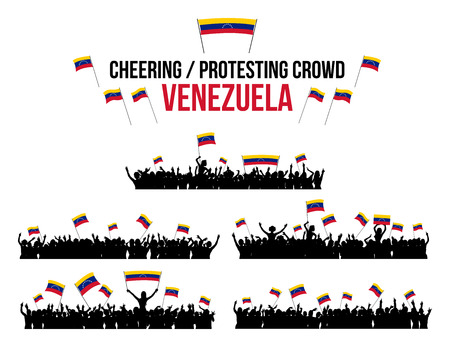 a group of people protesting: A set of 5 Venezuela silhouettes of cheering or protesting crowd of people with Venezuelan flags and banners. Illustration