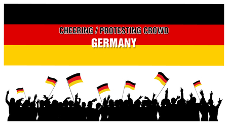 protesting: Germany silhouettes of cheering or protesting crowd of people with German flags and banners. Stock Photo