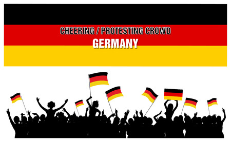 Germany silhouettes of cheering or protesting crowd of people with German flags and banners. Stock Photo
