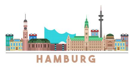 horizon coloré et détaillé de Hambourg avec divers monuments de Hambourg, Allemagne isolé