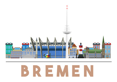 Colorful and detailed skyline of Bremen with various landmarks of Bremen, Germany isolated Ilustracja