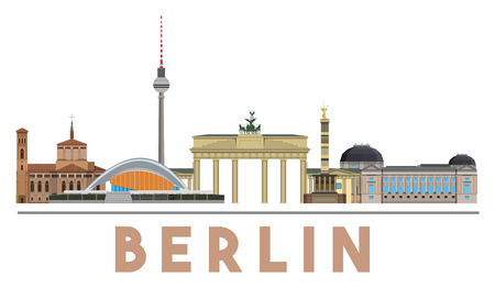 Colorful and detailed skyline of Berlin with various landmarks of Berlin, Germany isolated