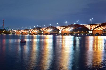 bay bridge: Bay Bridge and Seongsan skyline at sunset Stock Photo