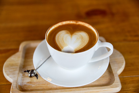 caffeine molecule: Cup of coffee with love, cappuccino, Love to eat. Stock Photo