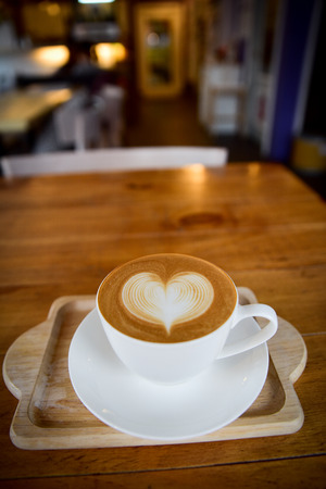 caffeine molecule: Cup of coffee with love, cappuccino Stock Photo