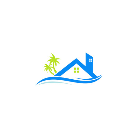 House Roof with tree behind, Design logo Real Estate Illustration