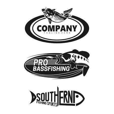 孤立した背景のブランド釣り会社ロゴの設定します。