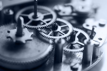 engrenages: Clockworks - macro de m�canisme interne d'une horloge  Banque d'images