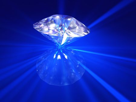 the caustic: Fire diamond - Large, beautiful diamond 3D rendered with and caustic reflections on a blue surface
