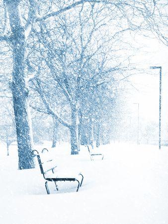 Rij van lege bankjes in een sneeuw storm, langs Charles River in Boston