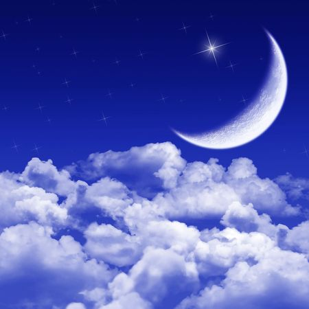 New moon and stars shining above blue clouds photo