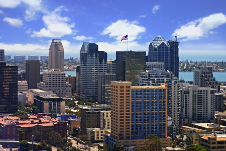 Aerial view of Downtown San Diego on a beautiful summer day