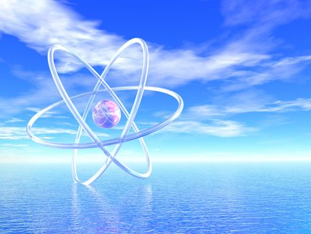 Tropical atom- 3d render of an atom in a serene, tropical setting, with ocean and reflection on the water.  The future of science is bright!