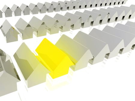 mismatch: Gold house standing out - Detailed 3D render with subtle reflection and golden glow on selected house