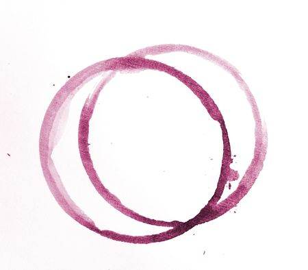 Two wine stain rings isolated on white