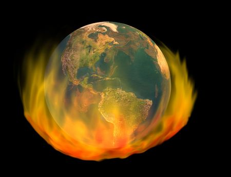 3d render of burning earth globe - image of earth created from texture map included in fully licensed, commercial version of Daz Bryce 3D rendering software.  Stock Photo