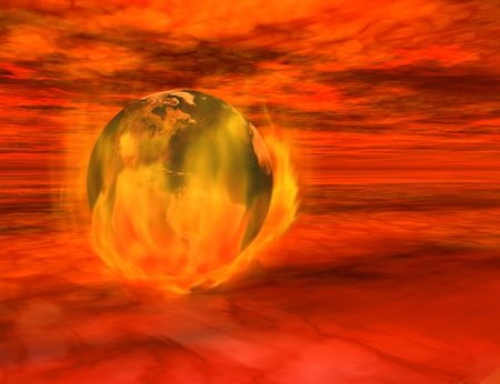 The end of the world - 3d render of the Earth on fire, floating among menacing red clouds.   免版税图像