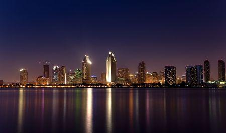 san   diego: San Diego downtown skyline afer dusk, from Coronado Island