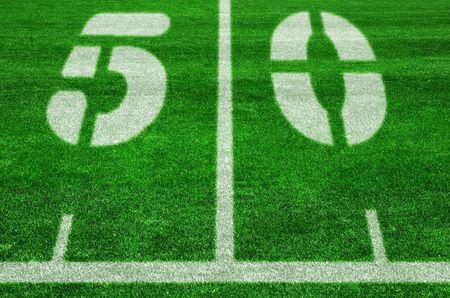 yardline: The fifty yard line on an american football field Stock Photo