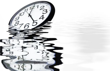 Drowning the time - Office clock showing 5, sinking in a pool of rippling water, with beautiful reflections photo
