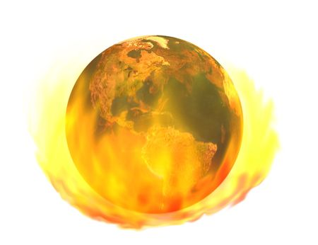 Burning earth - 3d render of burning earth globe, isolated on white - image of earth created from texture map included in fully licensed, commercial version of Daz Bryce 3D rendering software. Stock Photo - 2338129