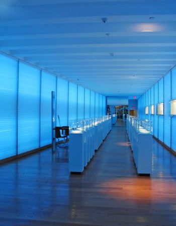 store: Jewelry store after closing hours bathed in a blue serene light