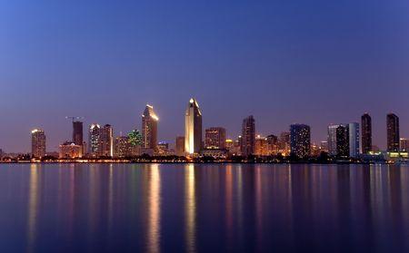San Diego downtown skyline afer dusk, from Coronado Island