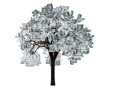 money tree: Money tree- 3d render of tree with dollar bills instead of leaves
